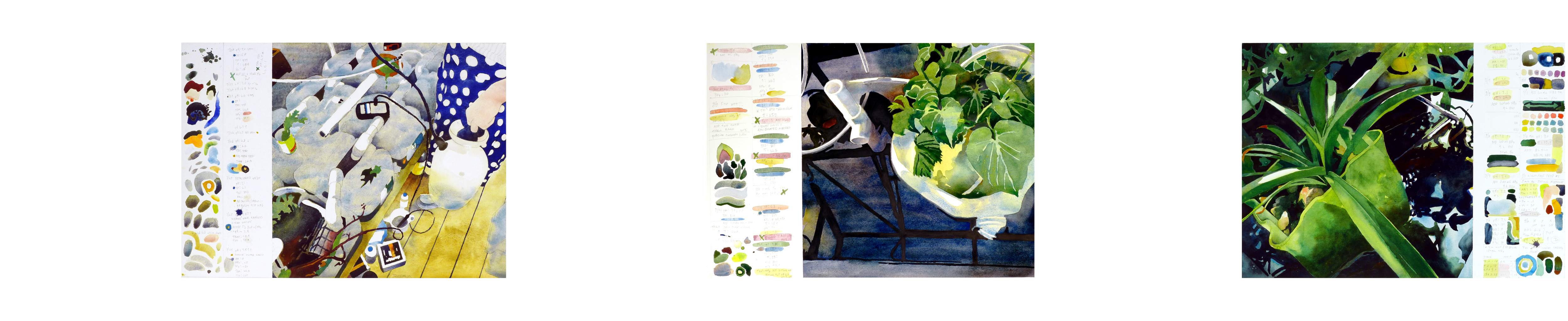 These are my three latest watercolors and part of the studio <a href=